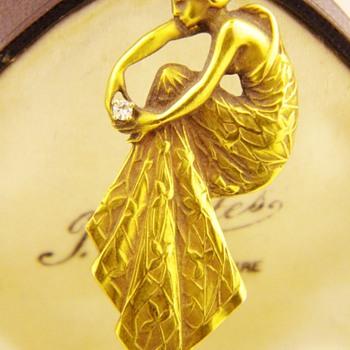 Antique Art Nouveau Diamond Lady Dress 14k Large Pin  - Fine Jewelry
