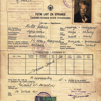 1951 Yugoslavian laissez-passer/passport for Germany