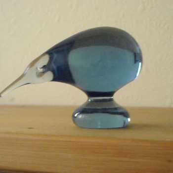 My blue glass kiwi - given to me as a child.