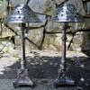 silver plated candlesticks 2 feet tall ,3 feet tall with shades