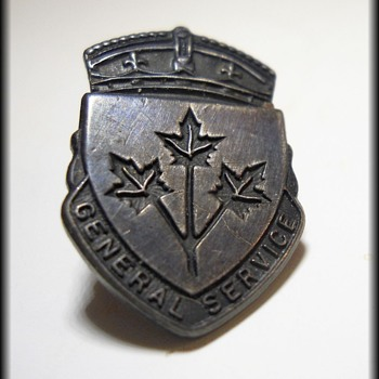 Canadian General Service Lapel Pin ~ WWII ~ Sterling ~ Imprisonment Clause ~ - Military and Wartime