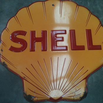Embossed Shell Oil Clamshell Pectin 4 Feet Porcelain Sign Circa 1938