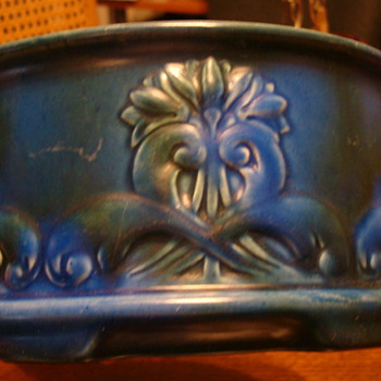 Blue bowl with a rising sun sign on the bottom - Pottery