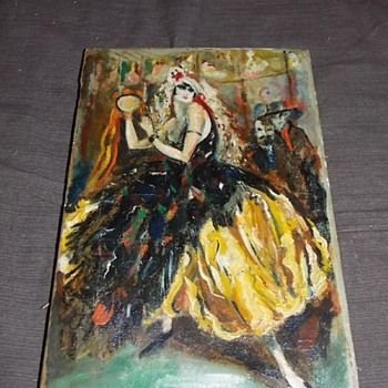 """oil painting masqurade  old one french ? painte.r ?Masquerade scene, unsigned. Approx. 8"""" x 12"""""""