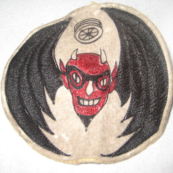 Very Old Patch With Winged Devil w/Goggles and Tire- Car or Motorcycle Club ?