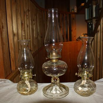 3 Glass Oil/Kerosene Lamps