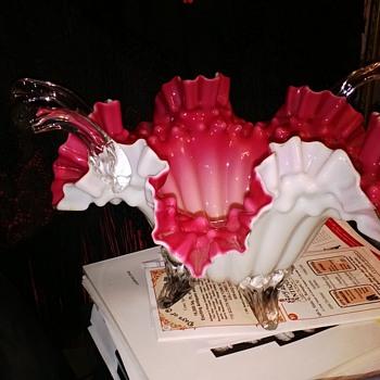 Bohemian Handled Bowl - Art Glass