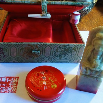 Jadeite stamp, ivory clasp, old with American name Lisa!? Silk Box? Chinese?