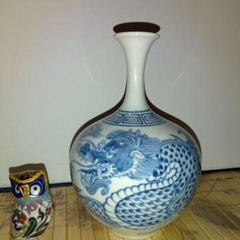 Vintage Blue & White Japanese Porcelain Vase - Asian