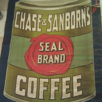 1921 Chase & Sanborns coffee poster sign - Signs