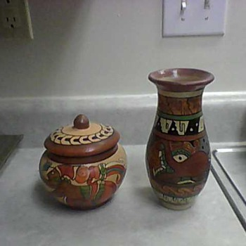 AZTEC WARRIORS JAR AND OCTOPUS VASE - Pottery