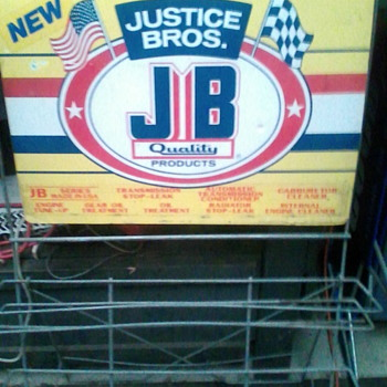 Justice bros oil additive stand - Petroliana