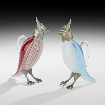 Glass and Silvered Metal Cockatiels, - Art Glass