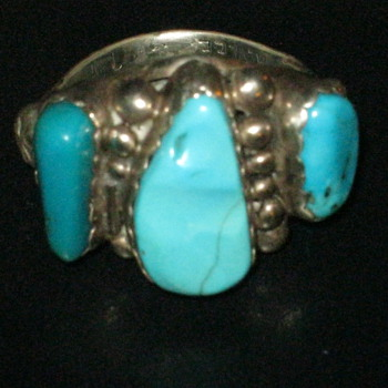 Navajo Turquoise Ring Signed A. Lee - Native American