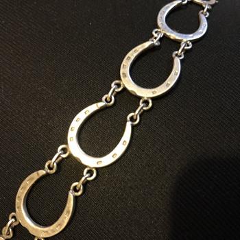 Old 925 Silver Horse Shoes Bracelet(B.S Birmingham 1976 - Fine Jewelry