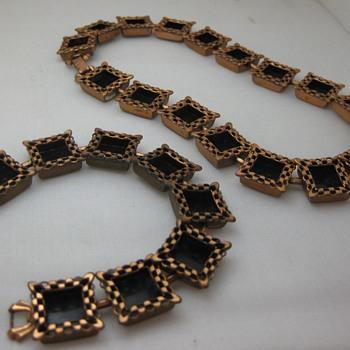 Renoir Ebony Lace bracelet, necklace & Matisse ear clips - Costume Jewelry
