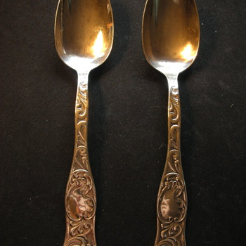 Two Sterling Serving Spoons Elaborate Design - Silver