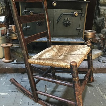 Help with identification possible 18th century hearth nursing rocker Rosehead nails rush seat
