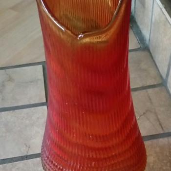 Large Retro/Depression Amber Vase - Art Glass