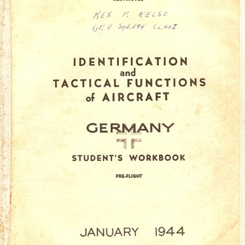 Identification & Tactical Functions of Aircraft~Germany, Jan., 1944 - Military and Wartime