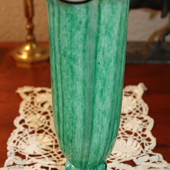 Very Nice Green, Black and White Signed Czech. Vase - Art Glass