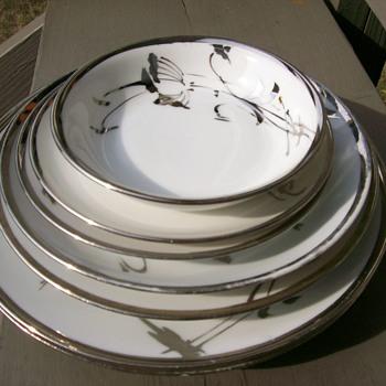 white china with platinum trim beautifully mismatched set  - China and Dinnerware