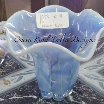 Blue/White Swirl Vase - Art Glass