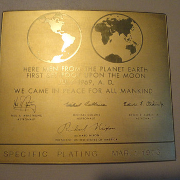 24k Gold Plated Apollo 11 Lunar Plaque - Military and Wartime