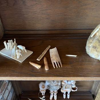 Ethel Washington dolls, Eskimo items collected by my Dad - Native American