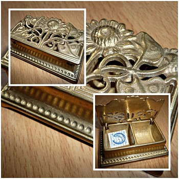 1920's brass stamp box - Art Nouveau
