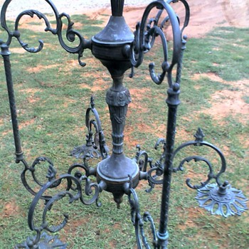 Brass light fixture / chandelier .  - Lamps