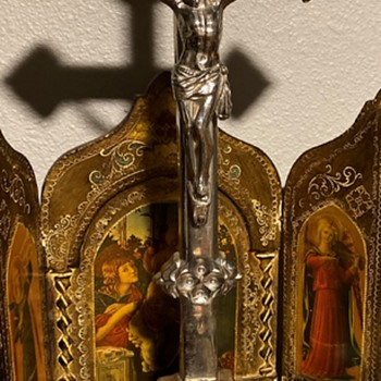 Extra Large Silver Crucifix - Medals Pins and Badges