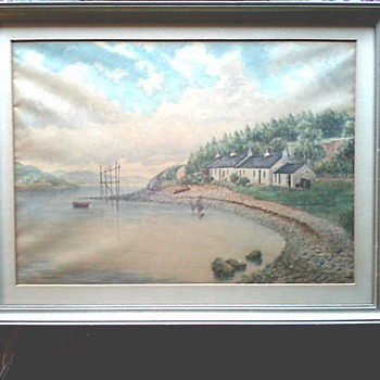 "Watercolor Landscape / 17""x 13"" Framed / Marked Cunningham on Frame /Circa 19th Century - Fine Art"