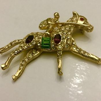 Little Jockey brooch - Costume Jewelry