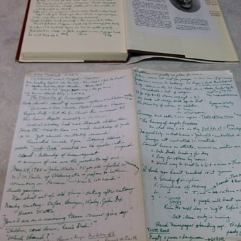 HAND WRITTEN LETTER AND NOTES INSIDE BACK OF ABRAHAM LINCOLN BOOK BY ELTON TRUEBLOOD