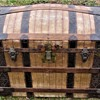 "1870's 36"" Canvas Fancy Nail Barrel Stave Trunk"
