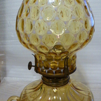 Fostoria amber coin glass courting lamp - Glassware