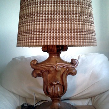 Unusual Wood Carved Lamp - Lamps