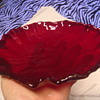 ruby red glass dish very old