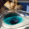 Turquoise and clear art glass dish