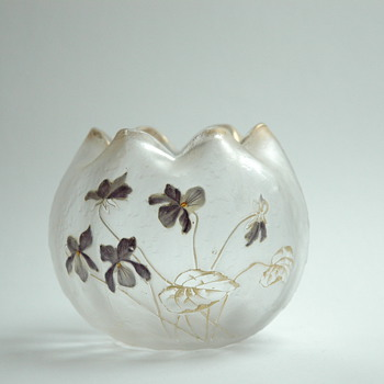 "art nouveau acid etched and enamel vase by CRISTALERIE DE PANTIN, legras & cie, model ""boule chinoise"" - Art Nouveau"