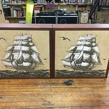 Vintage unique speakers with nautical Ship fabric  - Electronics