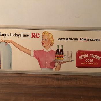 Vintage cardboard Royal Crown Cola sign - Signs