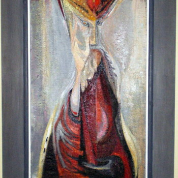 Virginia Banks – King In Benediction – MCM Art at it's Finest!! - Mid-Century Modern