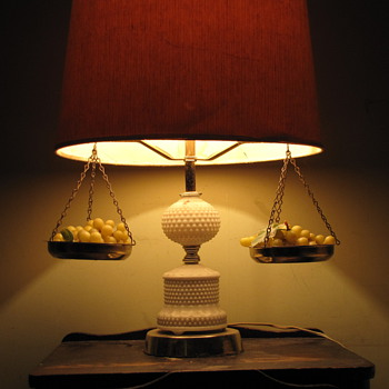 Old Lamp with weight balance and green grapes - Lamps