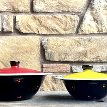 Black Enamelware Pots with Lids, Red & Yellow Flowers - Kitchen