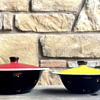 Black Enamelware Pots with Lids, Red & Yellow Flowers
