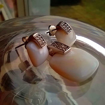 Sterling Silver MOP Pendant & Crystal Earrings Flea Market Find $7.00