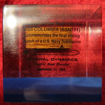 USS Columbia (SSN-771) - GENERAL DYNAMICS - PAPERWEIGHT - KEEL BLOCK  - Military and Wartime