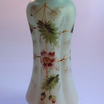 Victorian cased satin glass vase with painted decoration - Art Glass